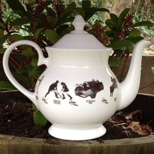 Unique British made Georgie Parker grey bone china teapot.