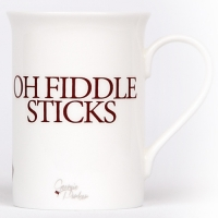 Unique British made Georgie Parker red Oh Fiddle Sticks bone china mug.