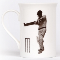 Unique British made Georgie Parker grey Sticky Wicket bone china mug.